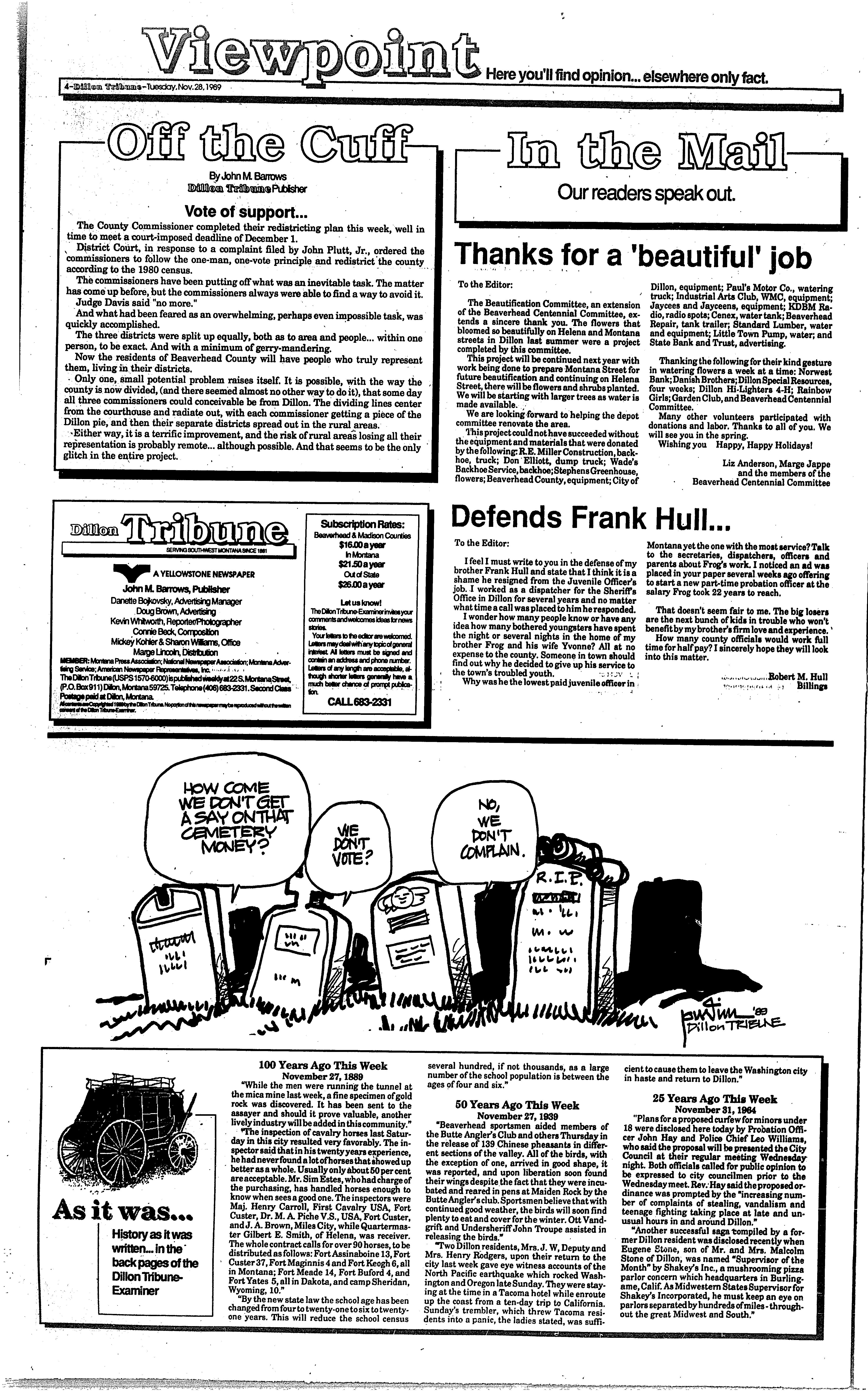 Montana back page