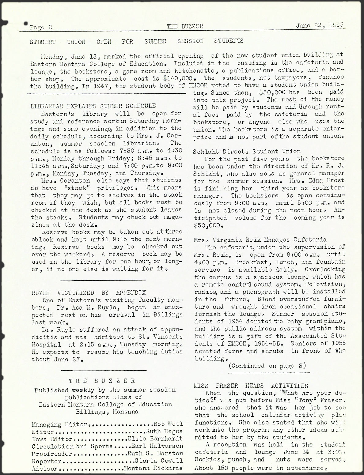 the buzzer billings mont 1955 1955 june 22 1955 page 2 image Bar Staff Resume montana newspapers