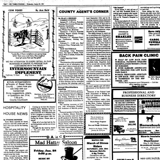 The Big Timber Pioneer (Big Timber, Mont ) 1983-current