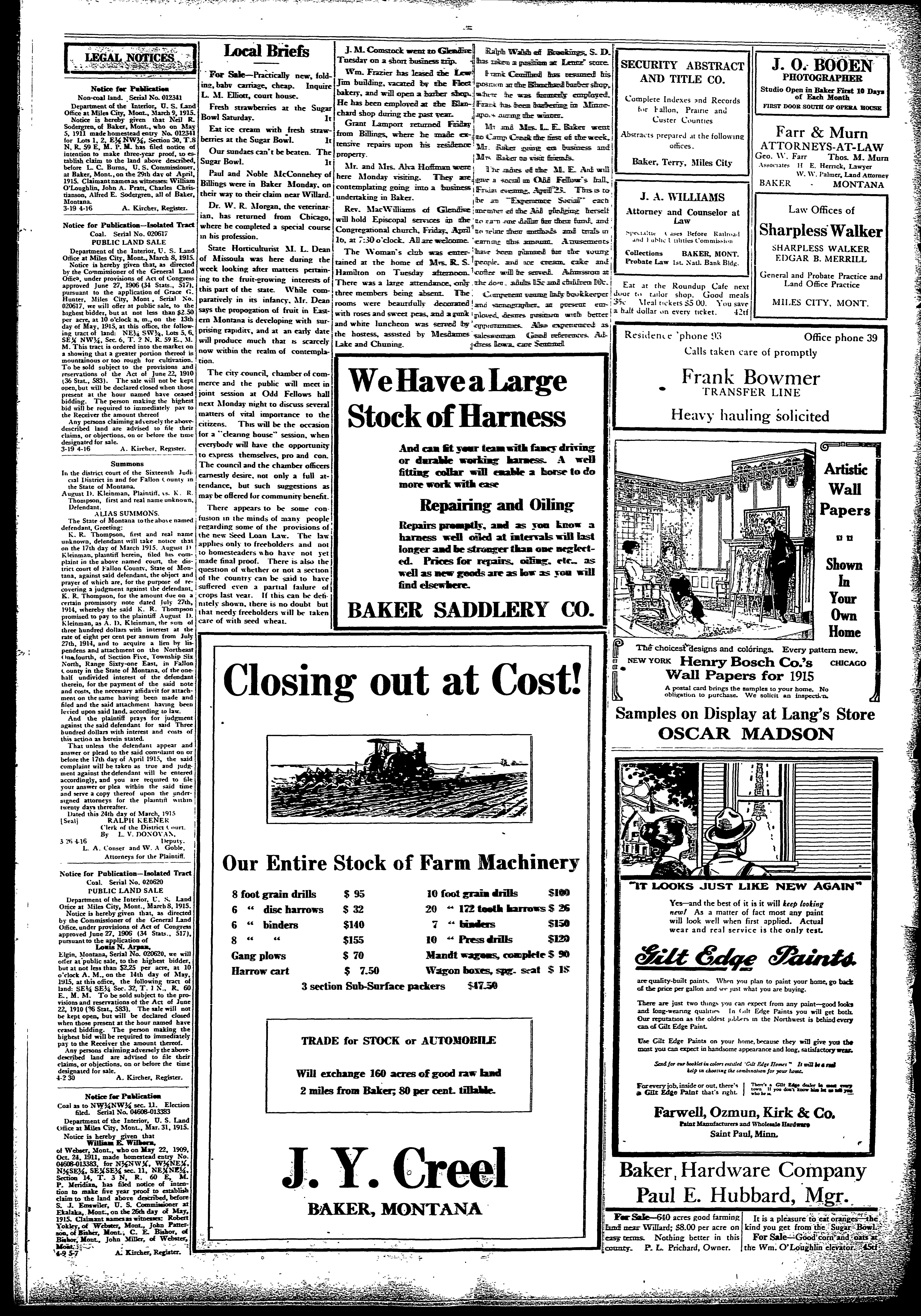 Baker Sentinel (Baker, Mont ) 1909-1925, April 16, 1915