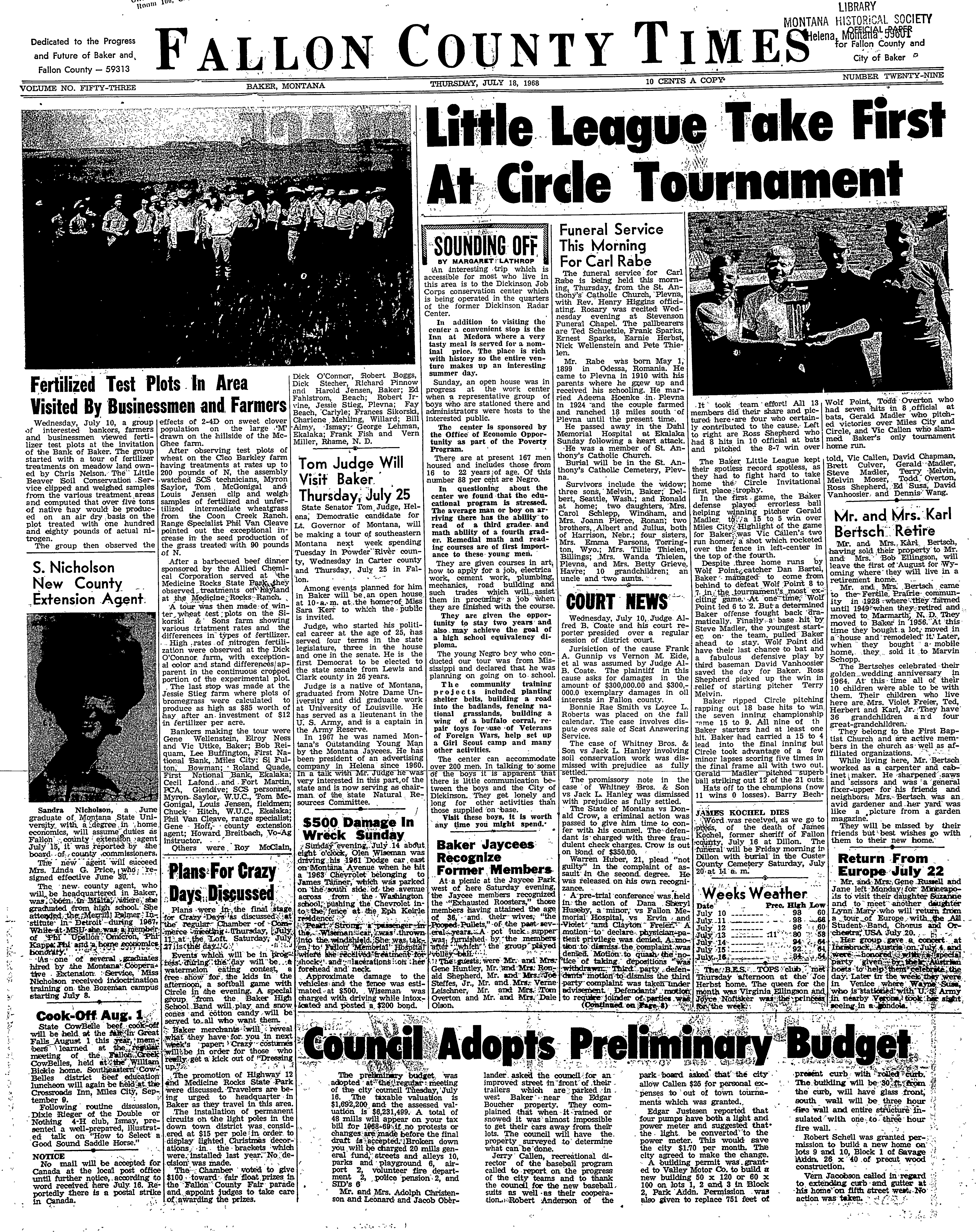 Fallon County Times (Baker, Mont.) 1916-current, July 18, 1968 ...