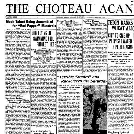 The Choteau Acantha (Choteau, Mont ) 1904-current, March 08, 1934