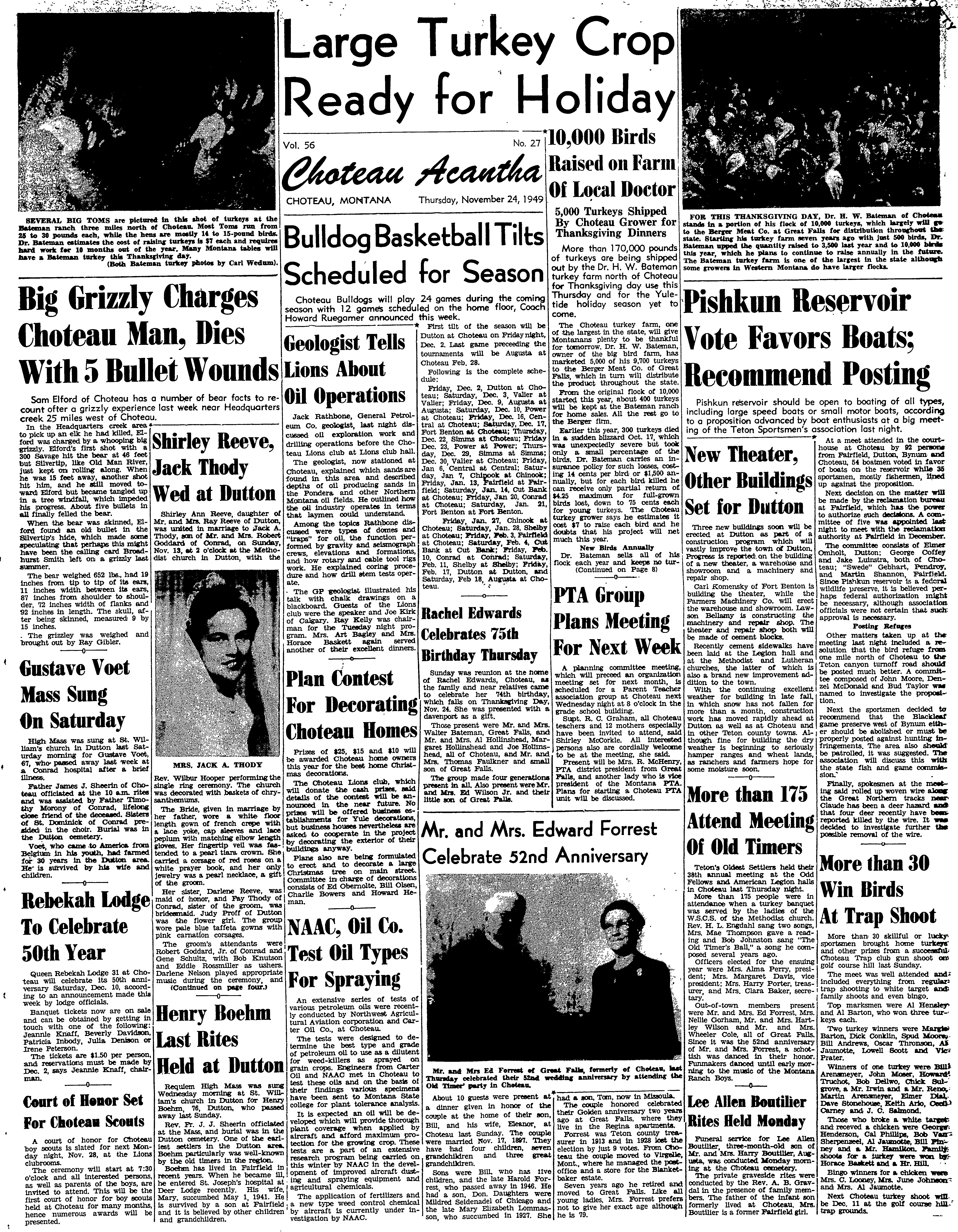 The Choteau Acantha November 24 1949 Page 1 Image