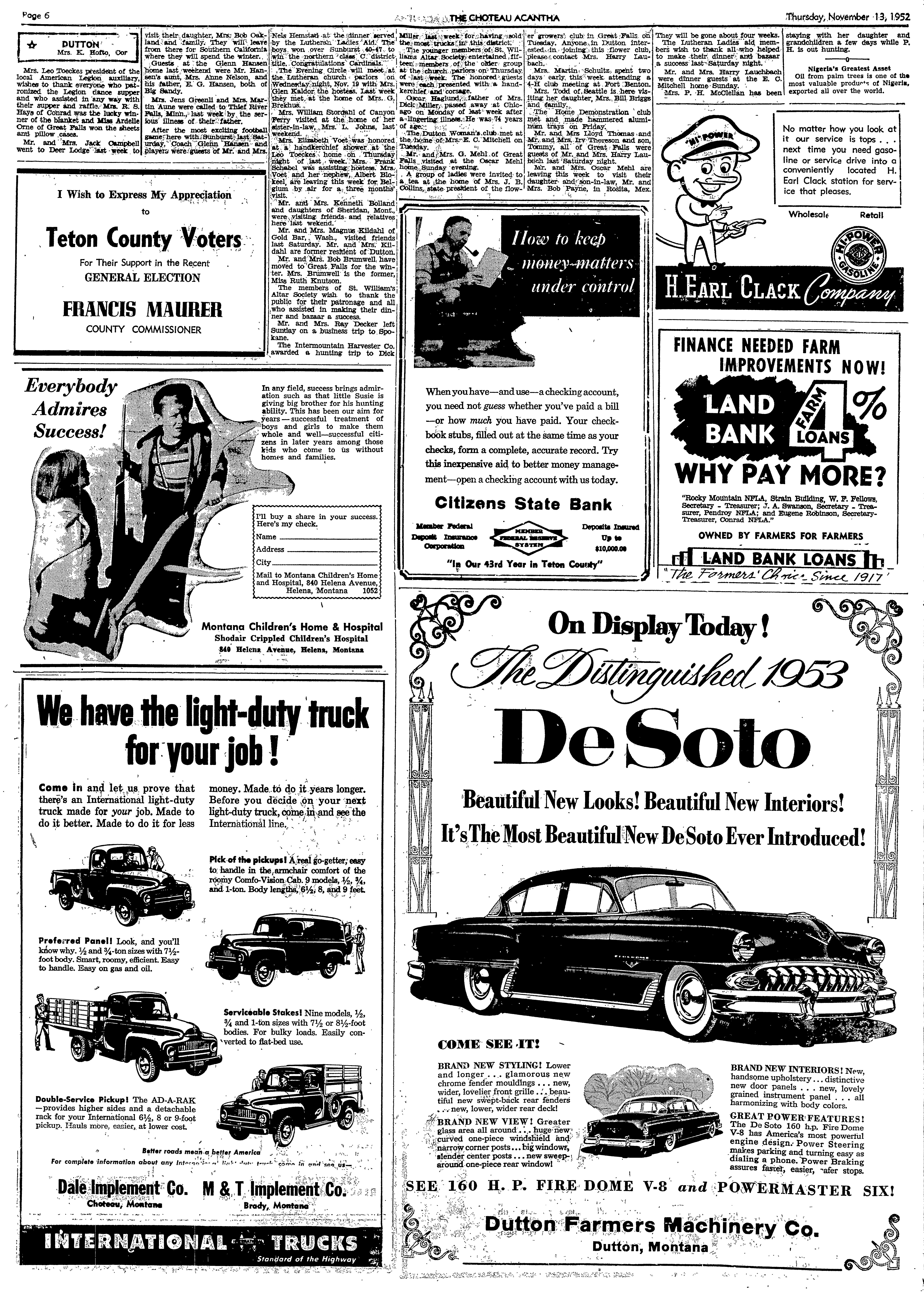 The Choteau Acantha (Choteau, Mont ) 1904-current, November 13, 1952