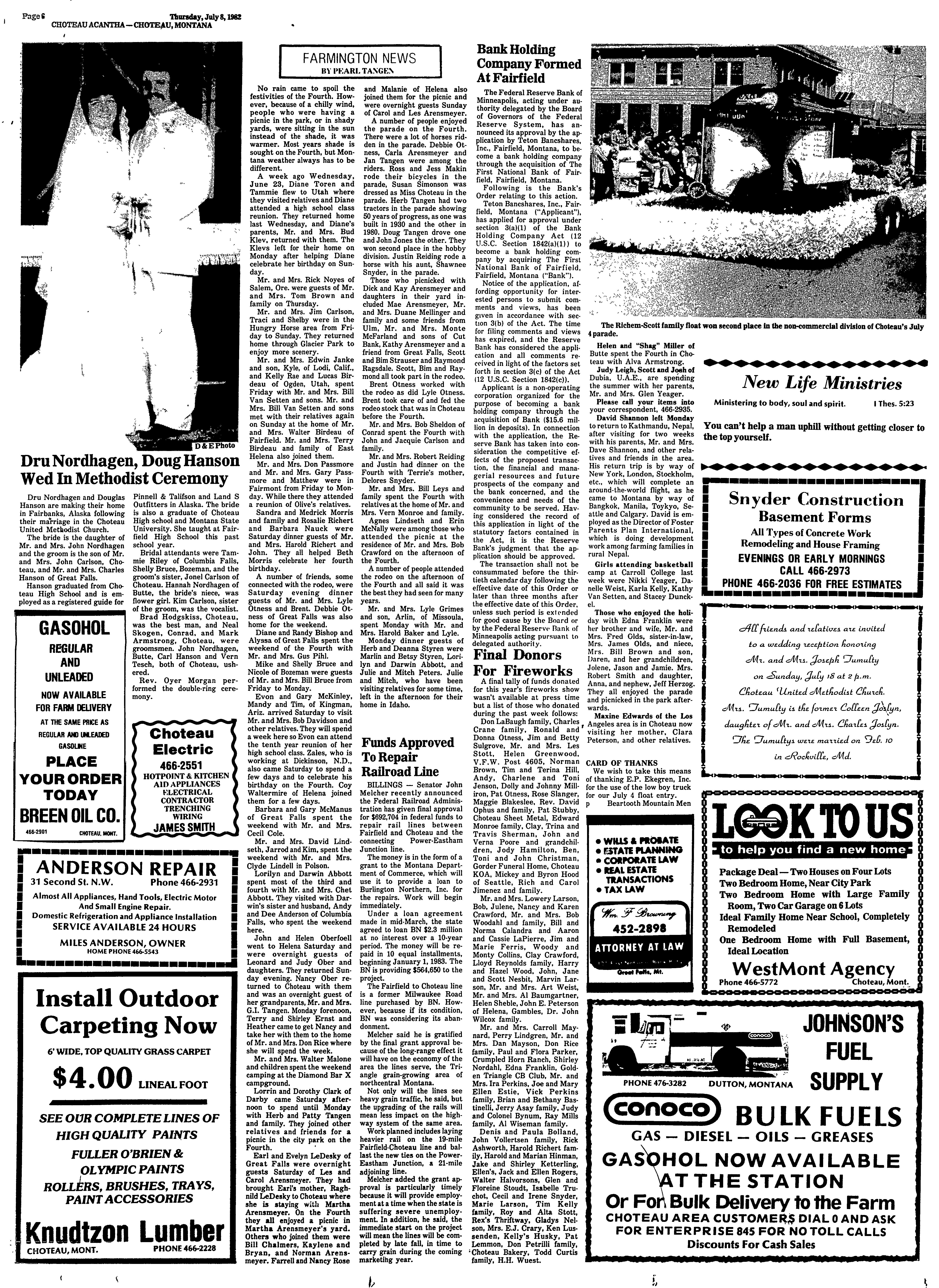 The Choteau Acantha (Choteau, Mont.) 1904-current, July 08, 1982 ...