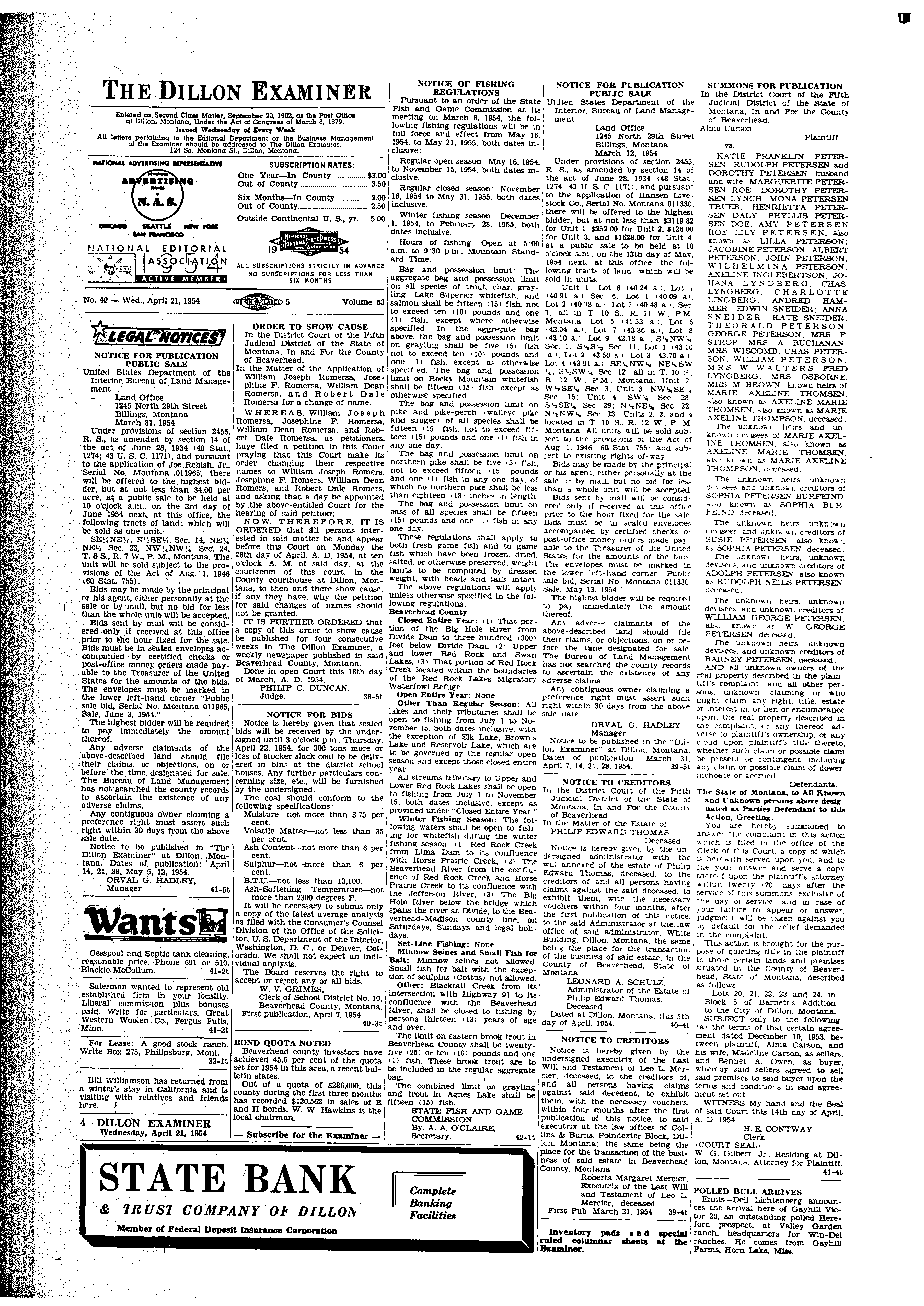 The Dillon Examiner (Dillon, Mont.) 1891-1962, April 21, 1954, Page on