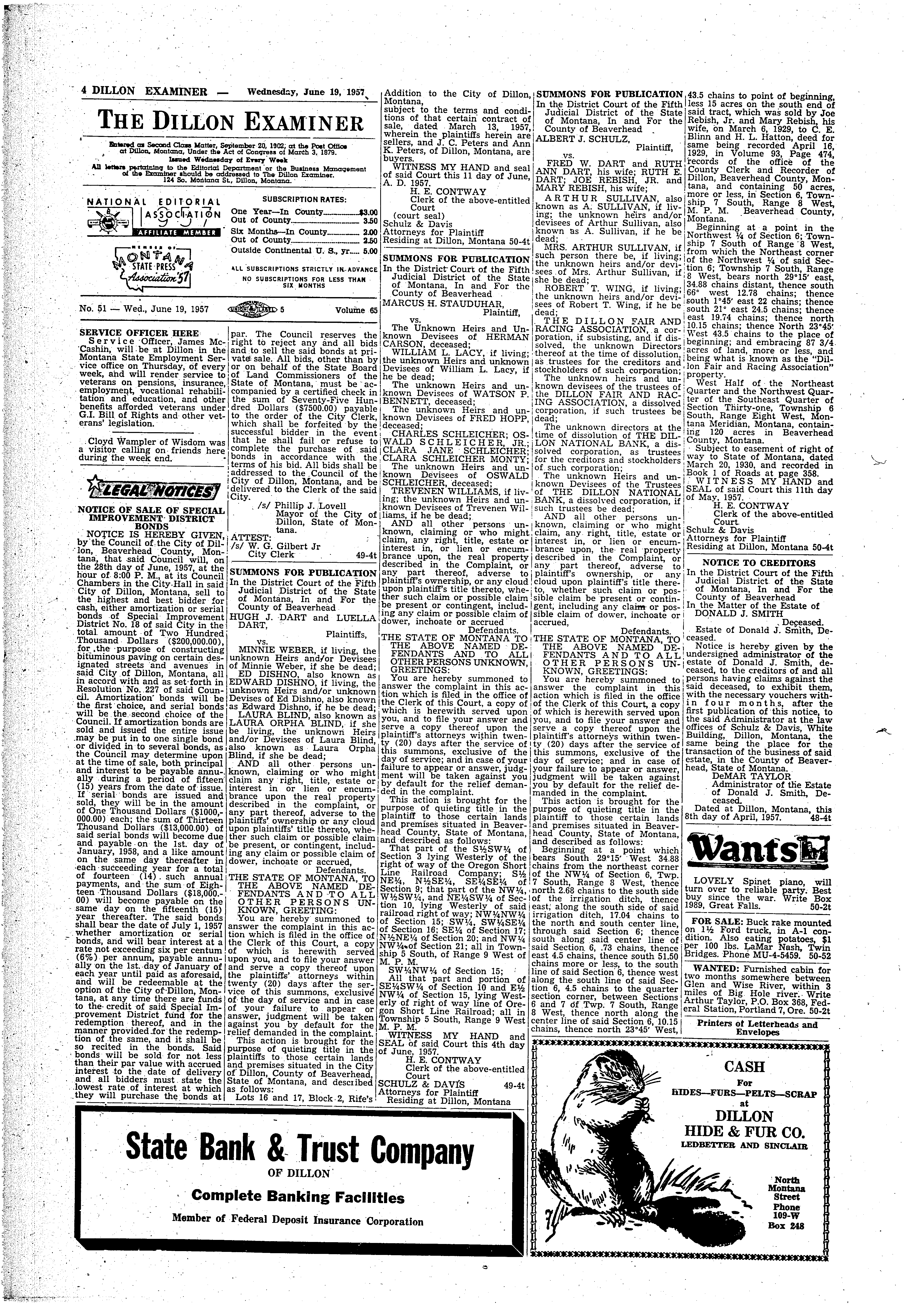 The Dillon Examiner (Dillon, Mont.) 1891-1962, June 19, 1957, Page on