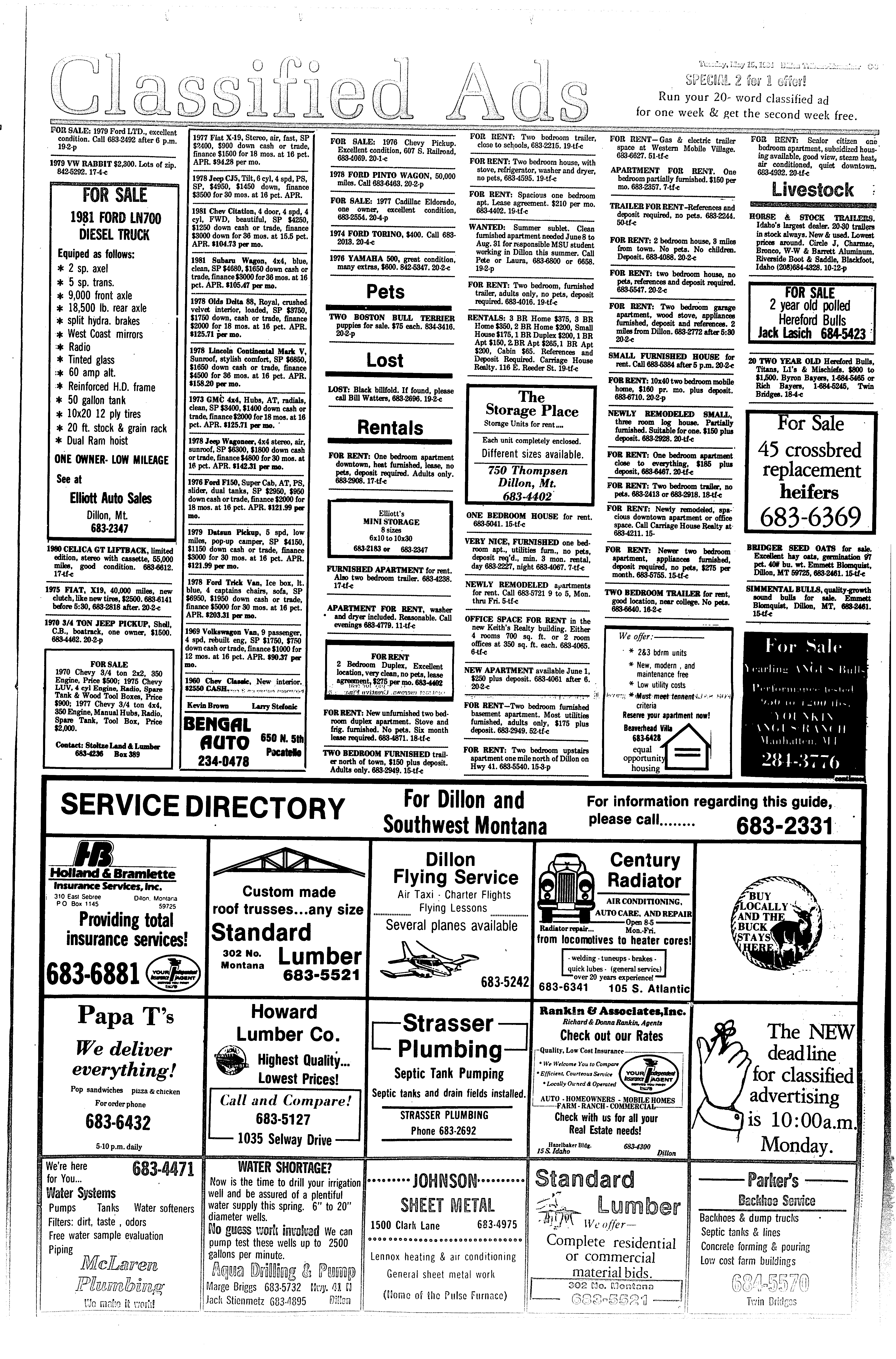 Dillon Tribune Examiner (Dillon, Mont ) 1982-1989, May 15