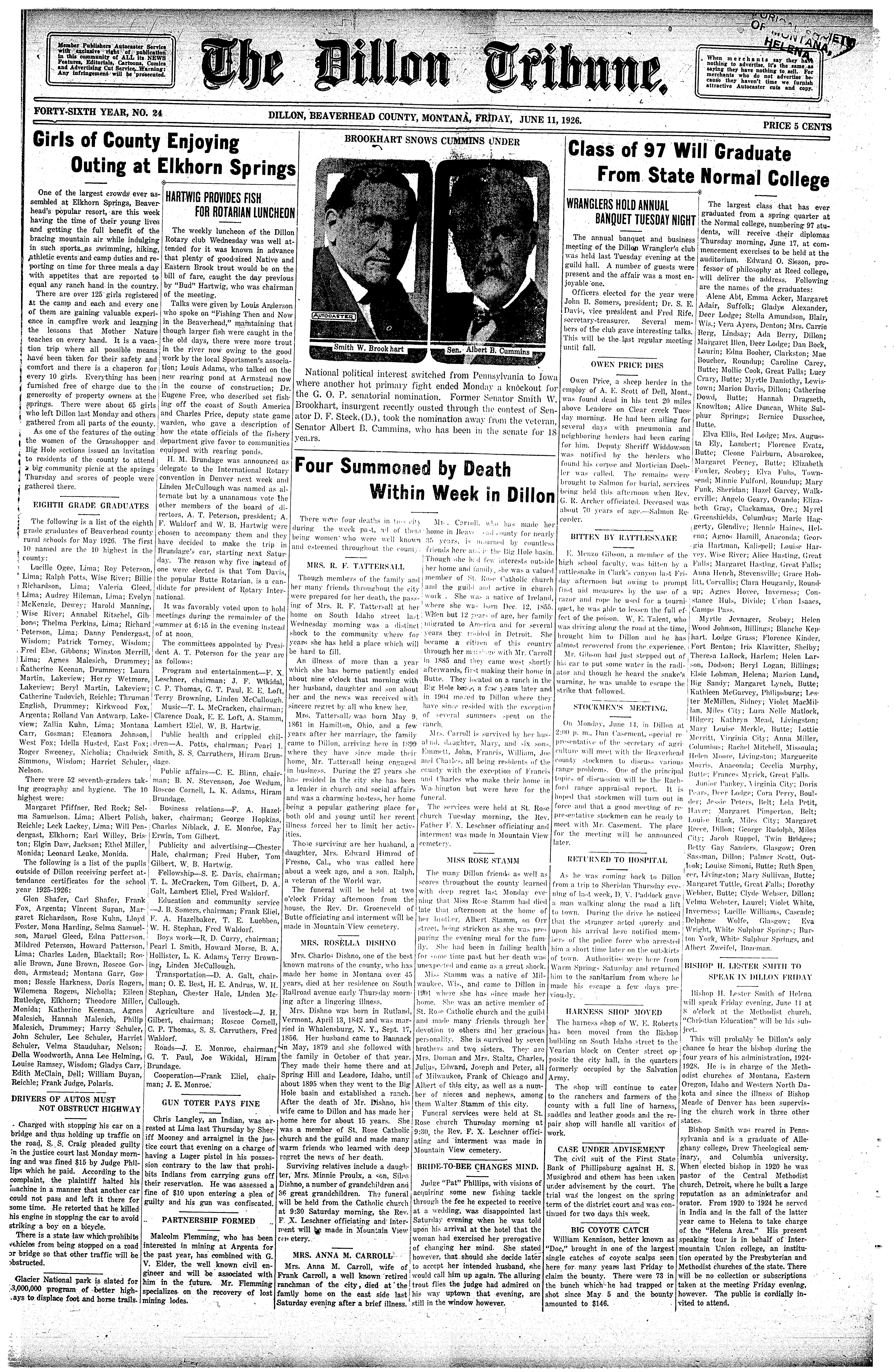 The Dillon Tribune (Dillon, Mont.) 1881-1941, June 11, 1926, Page ...