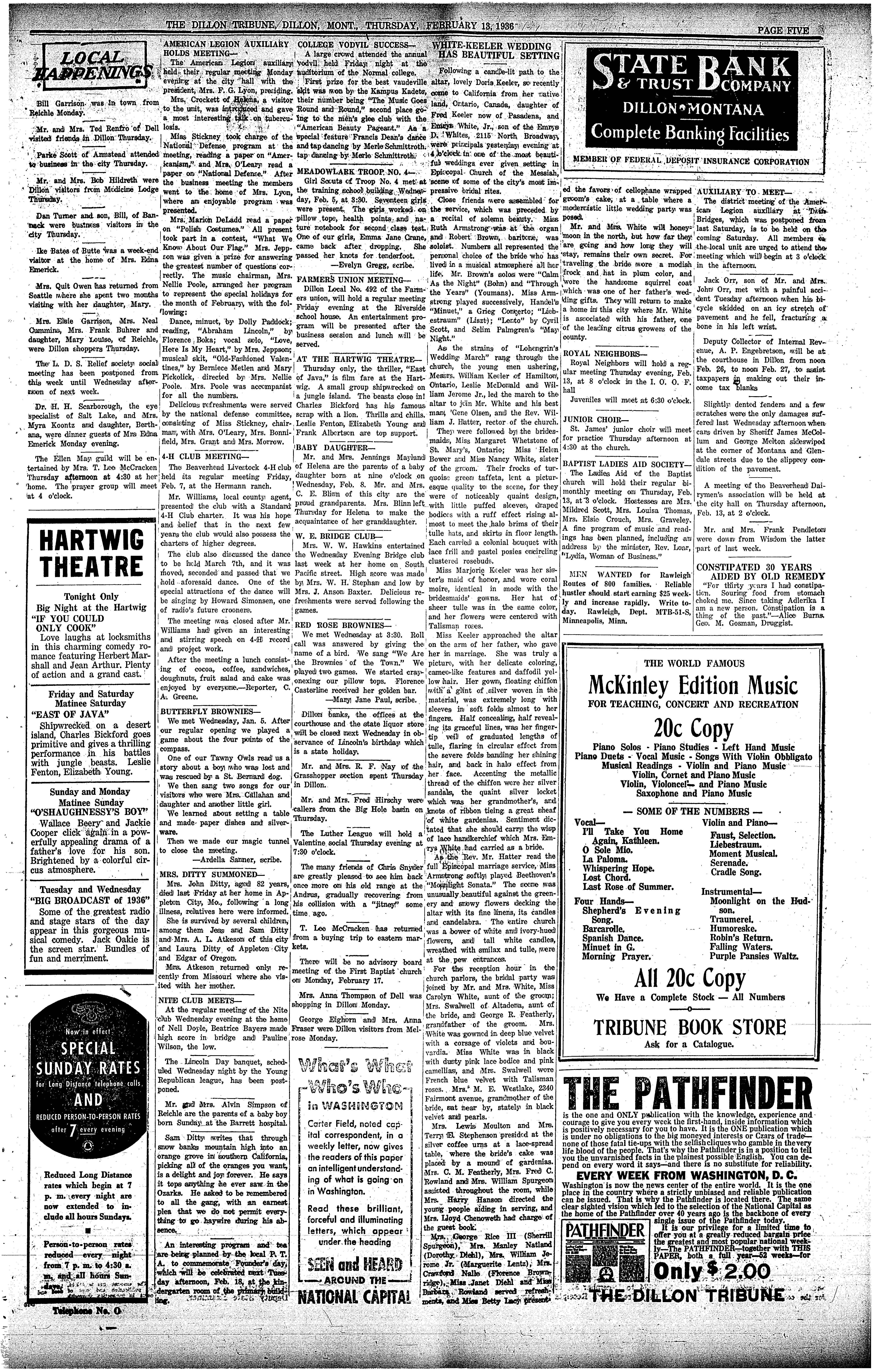 The Dillon Tribune (Dillon, Mont.) 1881 1941, February 13