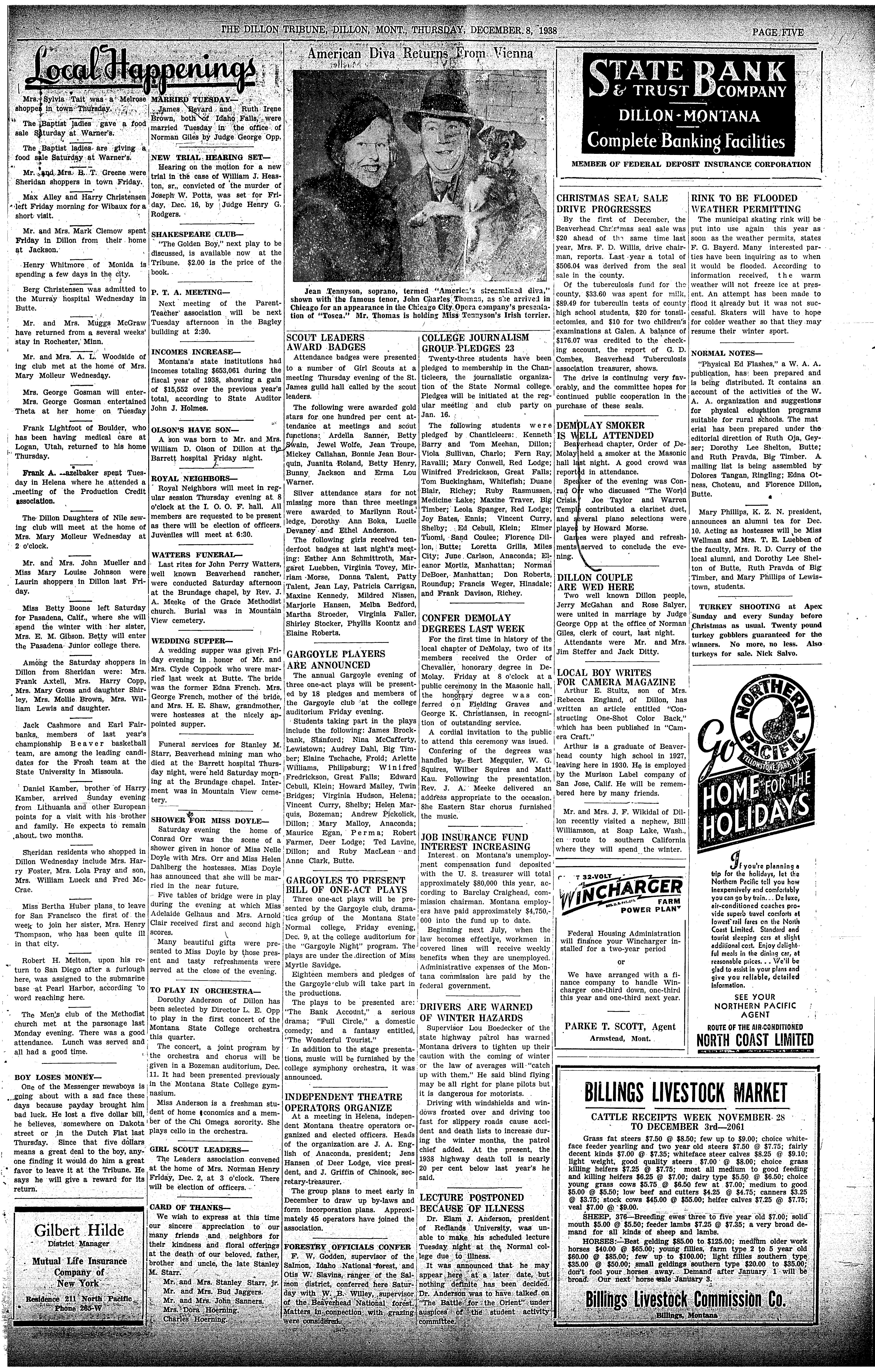 The Dillon Tribune (Dillon, Mont.) 1881-1941, December 08, 1938 ...
