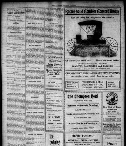 The Sanders County Ledger (Thompson Falls, Mont ) 1905-1918
