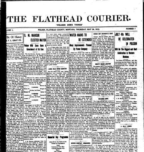 The Flathead Courier Polson Mont 1910 Current May 26 1910